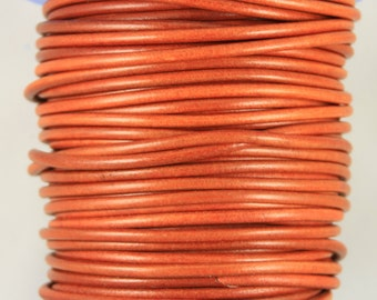 "MADE IN SPAIN 2 feet (24"") orange color round leather cord, 5mm round leather cord,  (5ANINAR)"