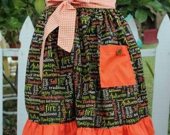 Thanksgiving half apron, Fall Apron,  Holiday Apron, Women's Apron, Gladstone Cottage