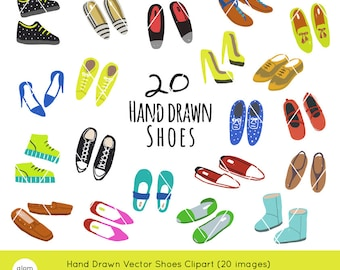 10 Hand Drawn Fashion Shoes Downloadable Vector Clipart