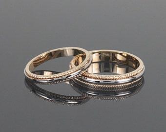 14k gold wedding set, Wedding band gold, Wedding ring gold, Wedding band set, Wedding ring men, Yellow gold wedding set, Unique wedding set