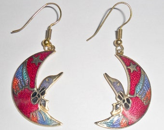 Pretty vintage goldtone colorful multicolored cloisonne enameled duck or goose and crescent moon pierced earrings
