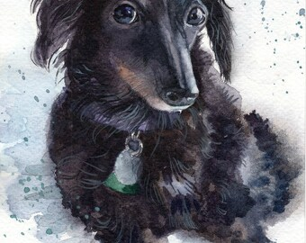 Christmas gift Custom Dog portrait Custom Dog Painting Pet illustration Watercolor Personalized Pet Portrait dachshund