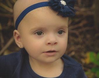 Chiffon navy baby headband, navy headband, baby headband, blue headband