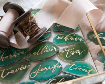 """2""""-3"""" Green Agate Slices Name Cards (DO NOT PURCHASE-20 minimum)"""