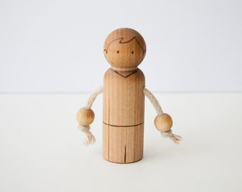 Peg Doll All Natural Wood Burned Teething Toy