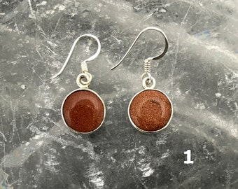Goldstone Sterling Earrings | YOUR CHOICE of Brown or Blue