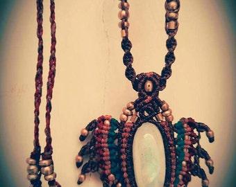 Moon stone macrame necklace with brass beads ,boho chic, pendant necklace, gemstone,
