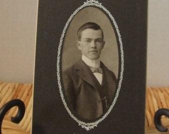 Vintage Handsome Young Man Photograph, Antique Photograph, 1900's Black & White Photograph, Edwardian Young Man, Handsome Victorian Man