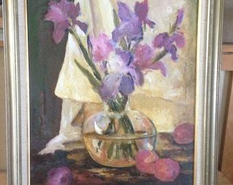 Vintage Framed Oil Painting- Floral and Fruit Still Life