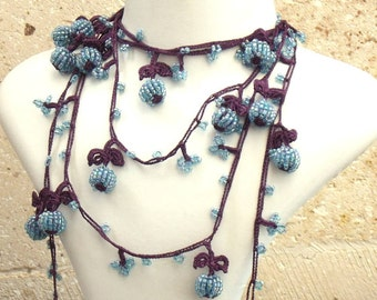 Turkish OYA Lace - Lariat necklace - Berry - Purple & Blue