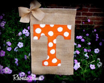Go Vols Tennessee UT Burlap Garden Flag Volunteers Orange White University TN Knoxville Rocky Top Dots or Chevron
