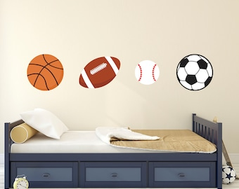 Sports Balls Wall Decal   Baseball Football Basketball Wall Decal   Soccer  Decal   Kids Wall