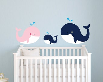 Whale Family Wall Decal - Nautical Theme Wall Decal - Nursery Wall Decal - Whale Wall Decal - Family Wall Decal - Whales Nursery Decor
