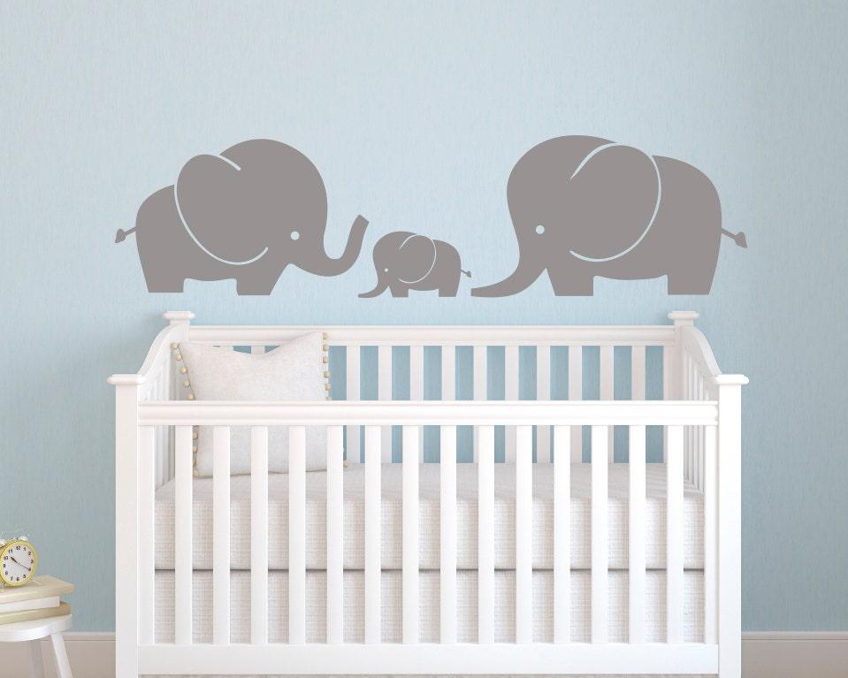 Elephant family wall decal elephant wall decal nursery for Elephant mural nursery