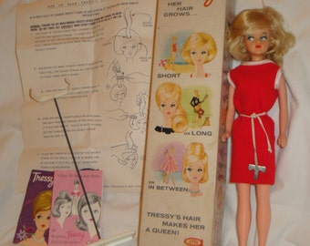 American Character c1963 Tressy Doll in Original Box, Outfit, with Doll Stand and Booklets, Key **FREE SHIPPING**