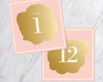 Blush & Gold Table Numbers - Wedding Table Decor - 1-12 - Double Sided