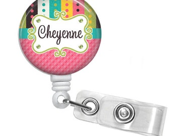 Pink Turquoise Dotted Stripes Personalized Basic Retractable ID Badge Holder or Lanyard