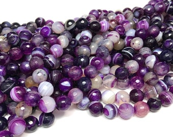 8mm Faceted Purple/White Striped/Banded Agate Gemstone Beads Full Strand