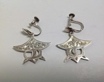 Vintage Asian Pagoda Screw Back Silver Earrings