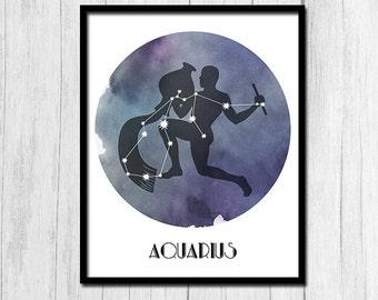 Horoscope Art February Birthday Printable Digital Download January Birthday Gift For Friend Aquarius Zodiac Horoscope Gift for Her Printable