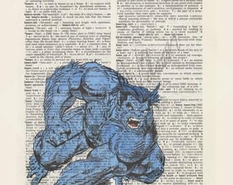 Marvel Comics X-Men Beast on dictionary page print