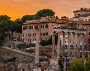 Panoramic Landscape Photo Print, Rome Italy, European Photography, Travel, SUNSET IN ROME, 6 x 18 inches