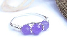 Wire Ring ~ Natural Alexandrite Ring, Unique Gift For June Birthday, Cute Gift For Tween Girl, Wire Wrapped Jewellery, Silver Wire Ring