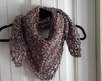 Crochet woman shawl,  brown shawl, lace scarf