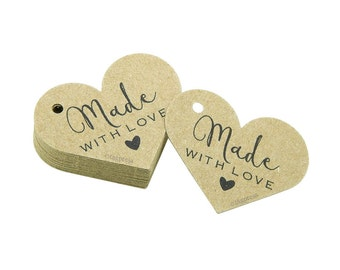 Made with Love Tags, Craft Labels, Rustic Paper Tags, Made with Love Label, Product Tag, Cream, White, Ivory, Brown Kraft Tag, tagpress T018