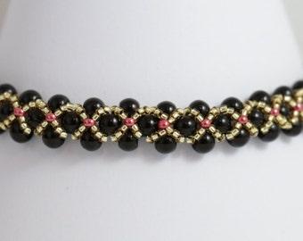 Dainty Black and Gold Bracelet