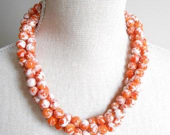Orange pearl necklace, triple strand, orange wedding, orange bridesmaid, summer wedding, bridesmaid gift