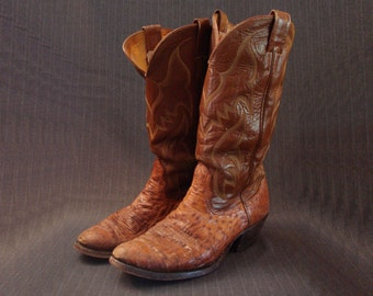 Nocona Ostrich Skin Boots, Cognac, Full Quill [Vintage]
