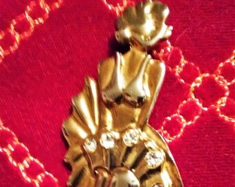 Vintage Marilyn Monroe Brooch, Gold and Silver,  accented with 5 rhinestones.