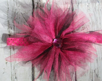 Hot Pink and black tulle headband.