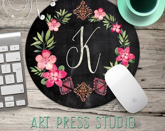 Chalkboard Initial Mouse pad, Chalkboard Wreath Mouse Pad, Chalk Monogram and Hot Pink Flowers Mousepad, Boho Chic Mouse Pad