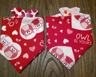 Valentine's Day Owls Bibdana Waterproof/Reversible for Infants and Toddlers Handmade