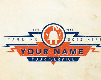 Vintage Custom Electrician Logo, Custom Electrical Logo, Lighting Logo, Sound System Logo, Low Voltage Custom Logo Design Personalized