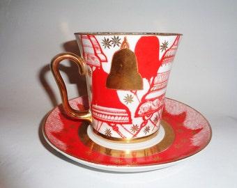 Tea Cup, Lomonosov China Tea Cup, Russian Imperial Lomonosov Porcelain, Mug & saucer Bells, 22k Gold, LFZ Mug, Russian Bone China, 360ml