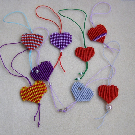 Valentines day gift Small macrame heart charm Keychain