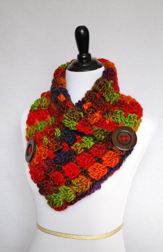 Red, Orange, Green Crochet Scarf, Purple, Brown Crochet Cowl, Chunky Button Scarf, Crochet Neck Warmer, Capelet, Wrap Scarf, Chunky Infinity