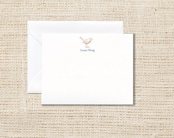 Bird Personalized Stationery - Set of 20 - Flat Note Cards