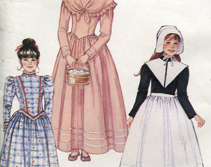 Free Us Ship Sewing Pattern McCall's 5211 Girls Costume Thanksgiving Pilgrim Prairie Colonial Dress Hat Apron Collar Size 14 Uncut