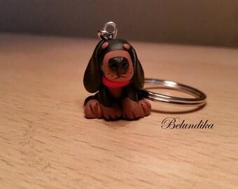 Black and tan dachshund key chain