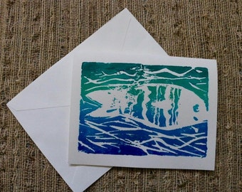 Hand Stamped Acrylic Fish Greetings Cards (Set of 6) by Olivia Rose Art
