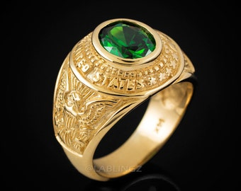 10K Gold US Army Mens CZ Birthstone Ring. Customizable Stone