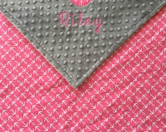 Nautical baby gift etsy nautical pink anchor blanket nautical anchor baby blanket grey minky blanket nautical theme negle Gallery