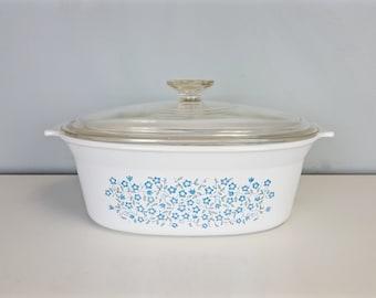 Vintage Blue Heather Pattern 2.5 Quart Corning Ware Casserole Dish, Rare Corningware Designer Blue Heather Pattern Large Casserole Dish