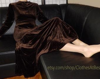 brown long velvet dress A-Line - langes ausgefallenes Samtkleid dunkelbraun