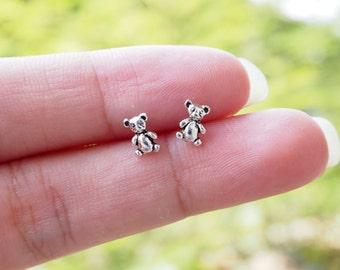 A pair of Teddy Bear Stud Earrings, Bear cartilage earring, 925 Sterling Silver, Children Earring, - SA14