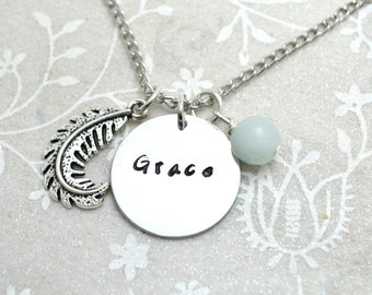 Grace Necklace, Feather Necklace, Hipster Necklace, Cute Necklace, Charm Necklace, Feather Jewelry, Hipster Jewelry, Boho Necklace, Boho